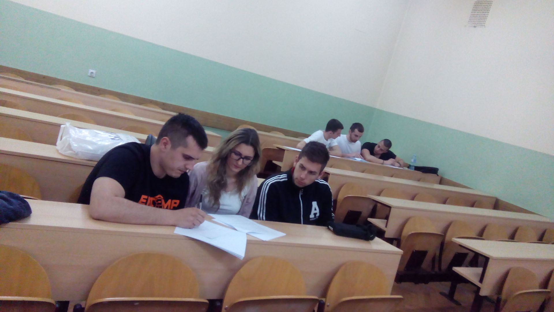 Students solving a test